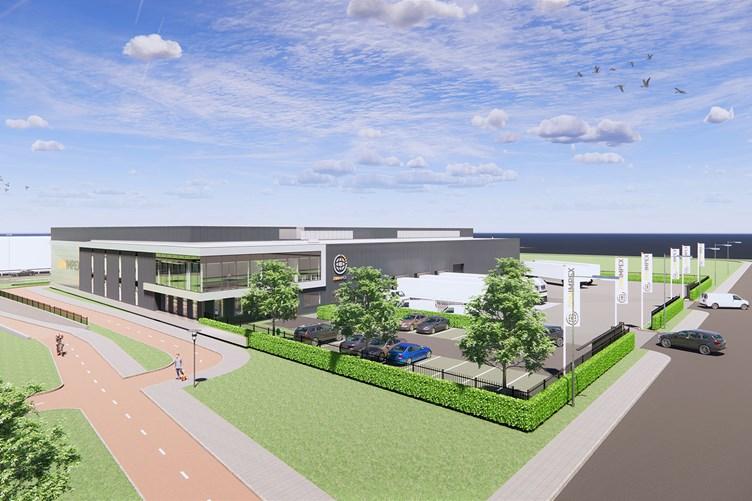 Nieuwe bedrijfsruimte voor Zon Impex op Oudeland Berkel en Rodenrijs - zijaanzicht
