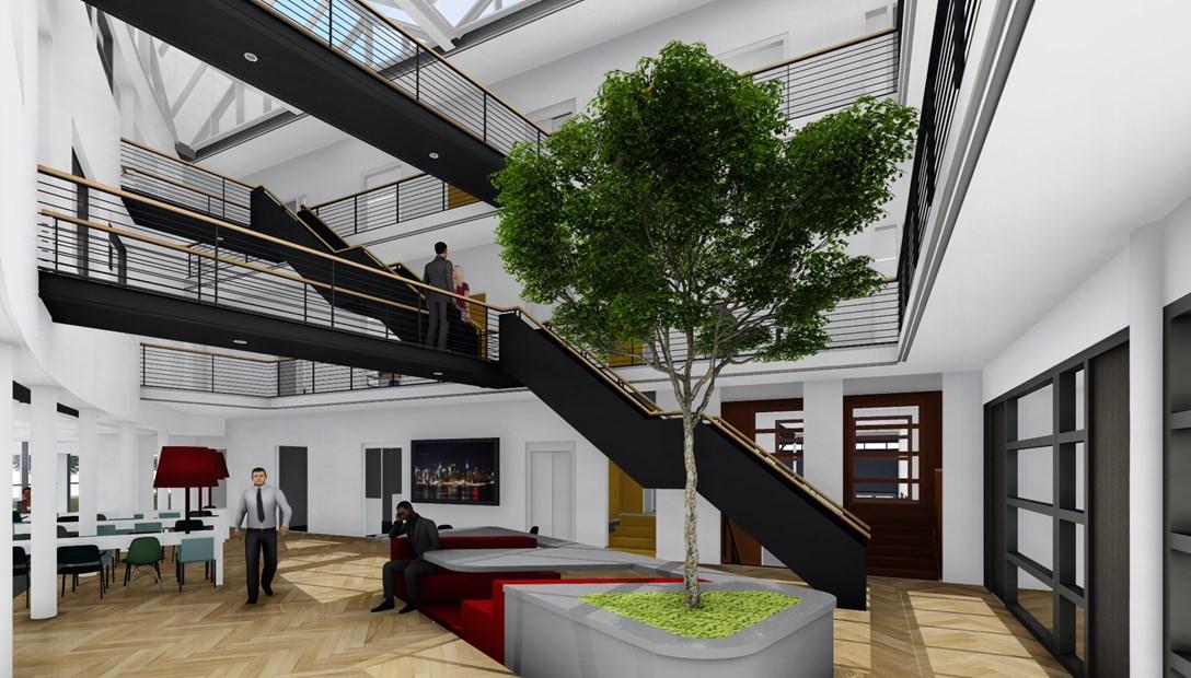Ontwerp Habeon Architecten renovatie hoofdkantoor Heembouw atrium