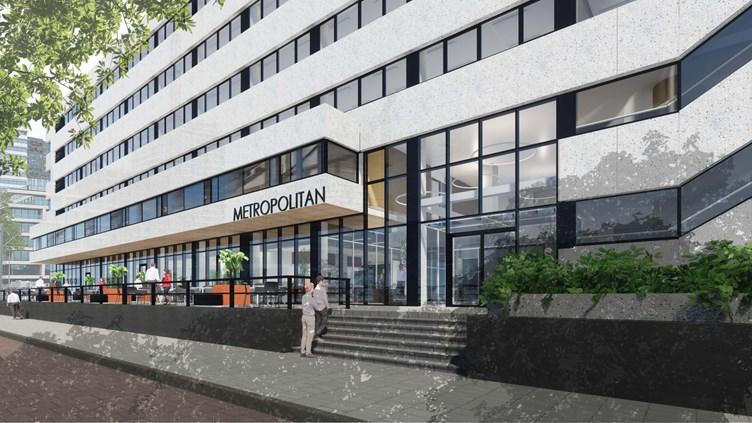 Artist impression van Habeon Architecten - nieuw entreegebied kantoor Metropolitan Heembouw