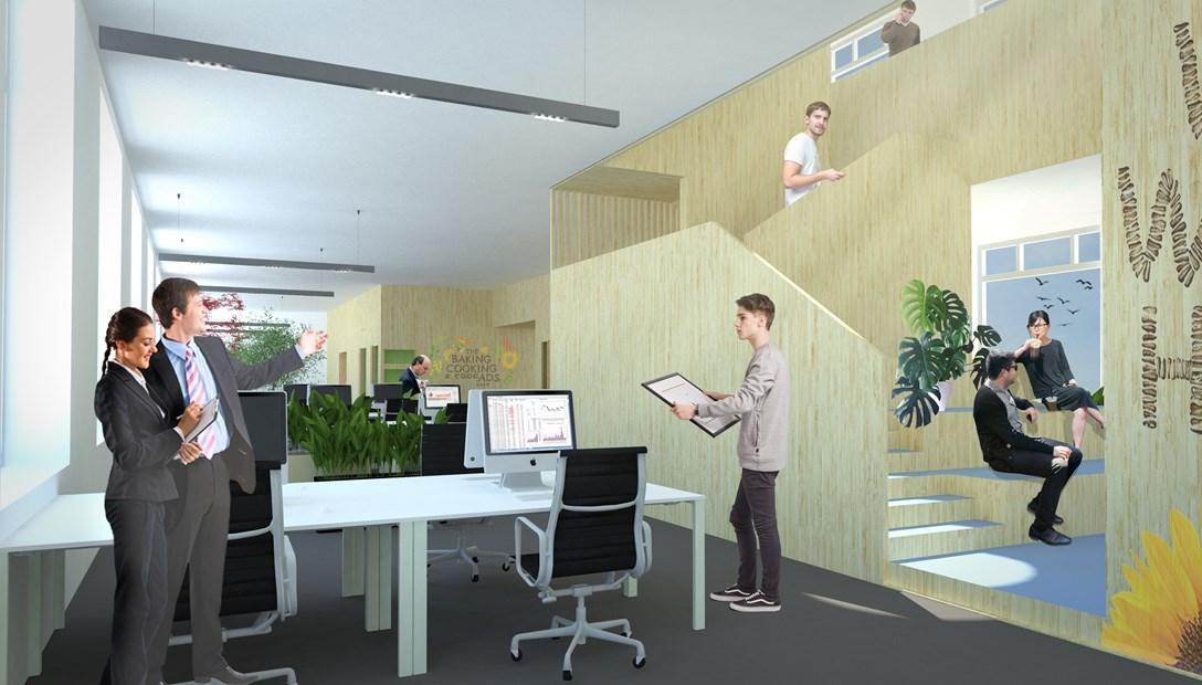 Renovatie Becel Gebouw Unilever Rotterdam uitvoering impressie architect JWDA
